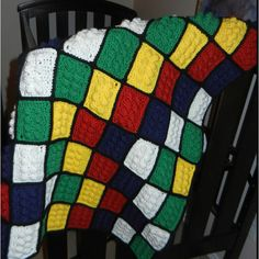 My version of the crochet Lego blanket.  (pattern can be found on Andrea L Baker's Etsy site)