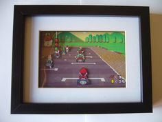 Super Mario Kart Shadow Box Diorama Art Arcade by Video Game Crafts, Video Game Rooms, Video Games, Mario Kart, Animation Pixel, Shadow Box Kunst, Perler Beads, Fuse Beads, Cuadros Diy