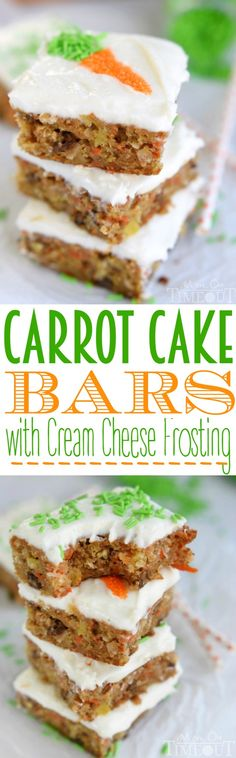 Carrot Cake Bars with Cream Cheese Frosting The incredible taste of your favorite carrot cake but in bar form! These Carrot Cake Bars with Cream Cheese Frosting are as easy as and disappear just that quickly! // Mom On Timeout 13 Desserts, Delicious Desserts, Yummy Food, Baking Desserts, Easter Desserts, Sweet Recipes, Cake Recipes, Dessert Recipes, Frosting Recipes