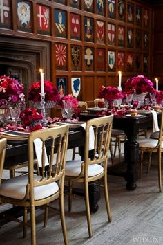 Beautiful hot pink black and gold wedding table scape