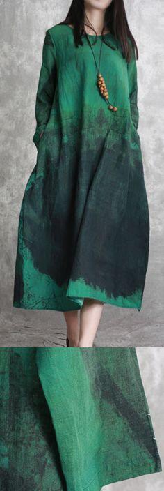 fb85a18e16 2018 green linen caftans plussize prints linen maxi dress New o neck kaftans