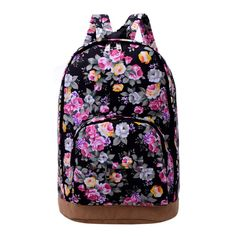 Fashion Floral Print Backpack Casual Women Canvas Backpacks for Teenage Girls School  #backpack #YLEY #WomenWallets #shoulderbags #highschool #L09582 #bagshop #Happy4Sales #kids #handbags #bag #fashion