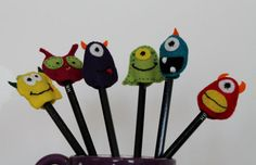 Felt Pencil Toppers  Monsters and Aliens by FeltAmazed on Etsy, £2.00