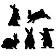 Free printable bunny silhouettes in black, cream or purple.