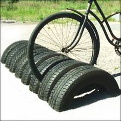 Recycled Auto Tire Bike Rack Design