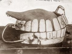 George Washington's dentures - One set can be seen at the National Museum of Dentistry in Baltimore, Maryland.  Despite legends, none of them would be made from wood.  They were carved from hippopotamus and elephant ivory.  Sometimes the teeth were set in gold.  His dentures had gold springs to hold the upper and lower teeth together. #deltadental