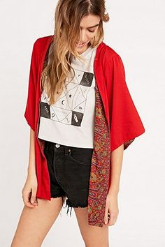 Urban Renewal Vintage Remnants Reversible Sari Kimono in Red