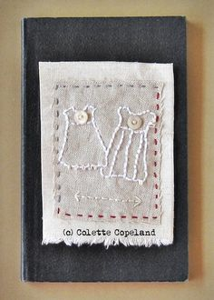 Textile art hand stitched Heart by ColetteCopeland on Etsy