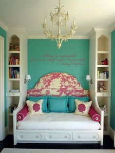 Regency-era bedroom-- Features: Bed, bookshelves, throw pillows, chandelier, headboard, wall graphic Accents: White, cream, teal, pink