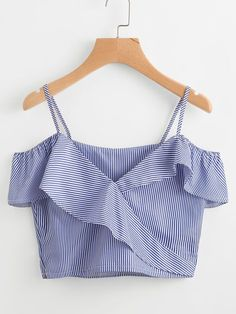 SheIn offers Cold Shoulder Pinstripe Frill Trim Top & more to fit your fashionable needs. Teen Fashion, Fashion Outfits, Womens Fashion, Pretty Outfits, Cute Outfits, Casual Outfits, Summer Outfits, Casual Dresses, Summer Dresses