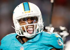 FISH FACE: Wide receiver Jarvis Landry of the Dolphins reacts after his fourth quarter touchdown against the Bills at Sun Life Stadium on Nov. 13.