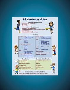 This free item is an Elementary School PE Curriculum Guide. It lists the movement and fitness concepts, skill themes, cooperative activities and special events that make up a PE school of excellence. These movement concepts, ideas and identified skills, when stranded together throughout an entire school year, will successfully hit all of the NASPE and state physical education standards.