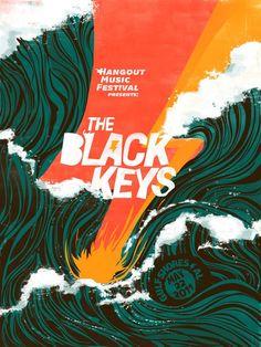 The Black Keys - Hangout Music Festival Poster Design Musikfestival Poster, Kunst Poster, Graphic Design Posters, Graphic Design Inspiration, Daily Inspiration, Poster Designs, Louise Fili, Art Actuel, Plakat Design