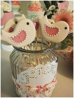 Sweet little birds baby shower party! See more party planning ideas at CatchMyParty.com!