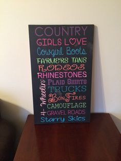 Country girls love wood sign. Teen girl