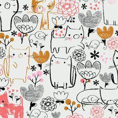 illustration / whimsical linework [ jillian phillips . colour: black . hot peach . mustard . white ]♥•♥•♥