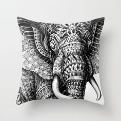 Ornate Elephant throw pillow from Society6.