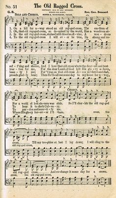 Sonday - The Old Rugged Cross - Antique Hymn Page Printable - Knick of Time
