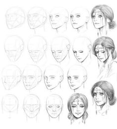 Drawing Faces Step By Step Drawings - realistic drawings Pencil Art Drawings, Realistic Drawings, Art Drawings Sketches, Cartoon Drawings, Eye Drawings, Dress Sketches, Cartoon Faces, Drawing Skills, Drawing Techniques