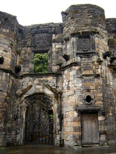 Castle Mar's Wark ruins, near Stirling, Scotland built 1569. I love the greenery growing out of the 2nd story!