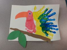Preschool jungle week handprint and footprint bird.TOO ADORABLE! Jungle Preschool Themes, Jungle Theme Crafts, Rainforest Preschool, Rainforest Crafts, Jungle Activities, Jungle Theme Classroom, Rainforest Theme, Art Activities For Toddlers, Rainforest Animals