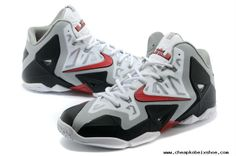 Nike LeBron 11 White Grey Red Black Mens Basketball Shoes For Wholesale