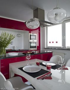 red white kitchen ideas.... could the cabinets be fuchsia instead? #wild