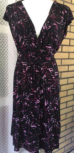 Merona A-Line Silhouette Dress Size XL Black and Purple Pattern #Merona #Shift…