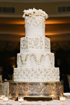 Classic Wedding Cake with Floral Pattern Photography: Dear Stacey Read More: http://www.insideweddings.com/weddings/sentimental-alfresco-ceremony-classic-reception-at-oheka-castle/1016/