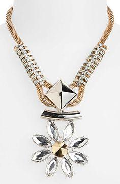 Statement! Topshop Rhinestone Flower Pendant Necklace