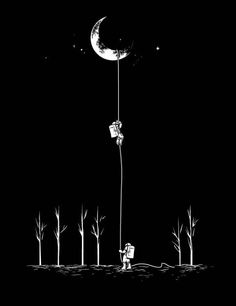 [Moon - Astronauts - Climbing - Surreal]