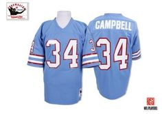 a2cd75c13 Earl Campbell Men s Authentic Light Blue Jersey  Mitchell and Ness NFL  Tennessee Titans Autographed Home Throwback