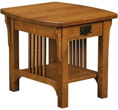 Amish Outlet Store : Craftsman Mission End Table in Oak