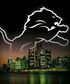 Lions logo over the city