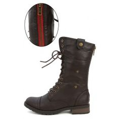 Terra-01 Two Way Plaid Military Boots BROWN