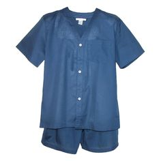 These easy care cotton poly blend pajamas are great year round. The button front top has a 3 button closure, patch pocket and edgestitch placket. The knee length shorts have an adjustable elastic waist band and concealed button fly. Designed for style and comfort, the great pajama set is ideal for everyday.