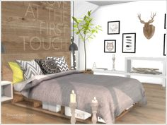 A set of furniture and decor for decorating a bedroom in Scandinavian style. Found in TSR Category 'Sims 4 Adult Bedroom Sets'