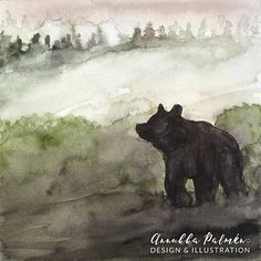 The Bear at dusk postcard Watercolours, Watercolor Paintings, Postcard Paper, Black Bear, Dusk, How To Draw Hands, My Arts, Prints, Animals