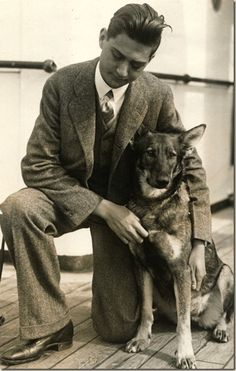 Morris Frank, the first American to use a Seeing Eye dog, with   Buddy, the first Seeing Eye dog
