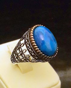 925 Sterling Silver Men's Ring Turquoise Stone by RIVERJEWELS1985