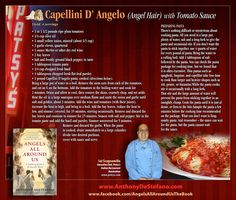 Angel hair pasta recipe by Sal Scognamillo, Executive Chef, Patsy's Italian Restaurant, Manhattan. www.patsys.com Restaurant Music, Restaurant Recipes, Angel Hair Pasta Recipes, Cooking Tomatoes, Little Prayer, New Children's Books, Plum Tomatoes, Executive Chef, Book Gifts