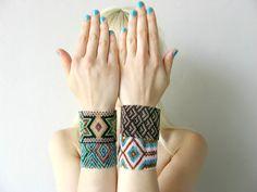 Bohemian Beaded Bracelets  Woven Beaded van HEIDIABRAOUTLET op Etsy, $43.00