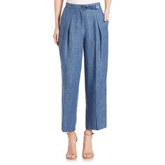 Akris punto Flint Linen Pants (440 NZD) ❤ liked on Polyvore featuring pants, apparel & accessories, bleached denim, cropped trousers, zipper pants, blue linen pants, wide leg linen trousers and blue wide leg pants