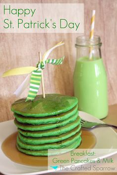Green Pancakes & Milk for St. Patrick's Day Breakfast