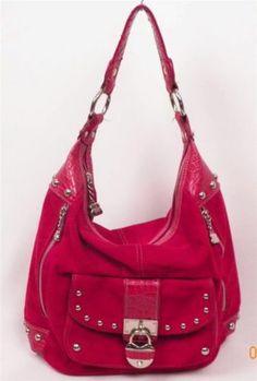 Purse Shoulder Bag Kathy Van Zeeland Red Leather Suede with details