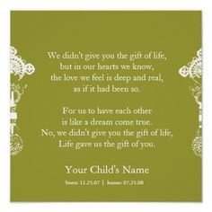 Adoption poem - personalized poster. This poem was on The Fosters - We didn't give you the gift of life.