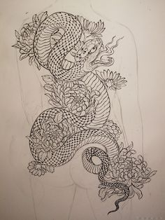 Painting Sketch by Chris Garver Irezumi Tattoos, Tribal Tattoos, Backpiece Tattoo, Asian Tattoos, Body Art Tattoos, Small Tattoos, Temporary Tattoos, Small Japanese Tattoo, Japanese Snake Tattoo