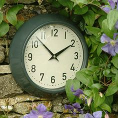 Large Metal Outdoor Clock - Slate