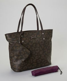 Take a look at this Black Leopard Catherine Tote & Umbrella by Franco Sarto on today! Best Handbags, Tote Handbags, Totes Umbrella, Modern Prints, Franco Sarto, Coin Purse, Take That, Louis Vuitton, Tote Bag