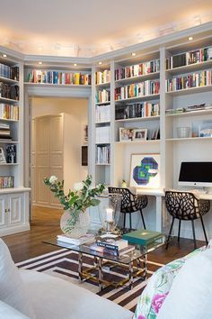 30 Corner Office Designs and Space Saving Furniture Placement Ideas - Office Des. - 30 Corner Office Designs and Space Saving Furniture Placement Ideas – Office Desk – Ideas of Of - House Design, Furniture Placement, Interior Design, House Interior, Home, Home Library Design, Home Office Design, Cozy Home Office, Home Decor